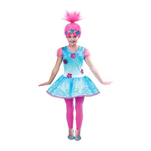 DSJHJRE Kid Childs Meisjes Trolls Poppy Party Verjaardag Cosplay Kostuums Halloween Fancy Jurk met Pruik (Blue1, 140(9-10years Old))