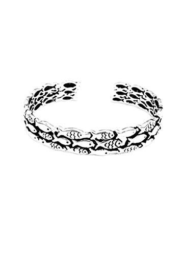 Wenig Fisch Ring Armband Zu meiner Tochter die gegen den Strom schwimmt Jahrgang Silber Einstellbar Finger Handgelenk Schleife Mutig Amulett Geburtstag Jahrestag Geschenke Mädchen Jungen (Armband)