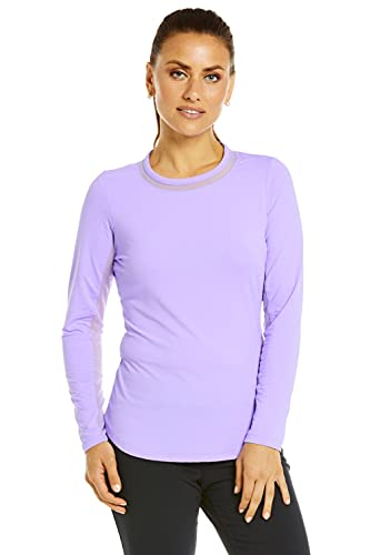 IBKUL Women's Sun Protective UPF 50+ Cooling Long Sleeve Crew Neck with Mesh - 83000 Lavender Solid XL
