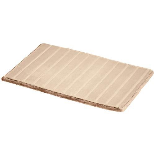 Amazon Basics Tapis de bain en mousse à mémoire de forme et texture rayée, Brun, 50 x 80 cm