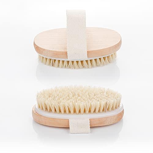 OurWarm 2 Pack Trockenbürste, Körperbürste weich, Peelingbürste, natürliche Weich Borste körperbürste, Badebürste zum Entfernen abgestorbener Haut, lymphdrainage gegen Cellulite, Peeling