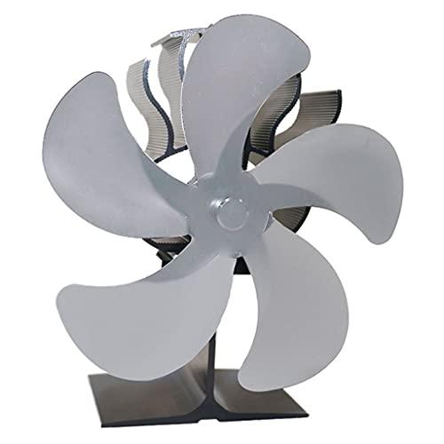 MERIGLARE Ventilador de Estufa Alimentado por Calor: Funcionamiento Silencioso 5 Aspas para Leña/Quemador de Leña/Chimenea: Distribución de Calor Eficiente - Plata