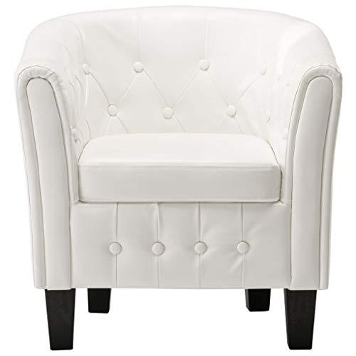 Extaum Sessel clubsessel Loungesessel Ledersessel Golden/Weiß 64 x 67 x 70 cm Kunstleder Mit quadratischen Beinen