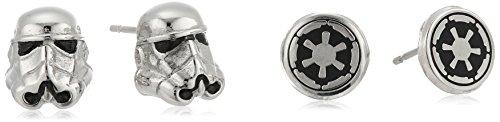 Set 2 pares de Pendientes Stormtrooper Imperio Galáctico, Star Wars, acero