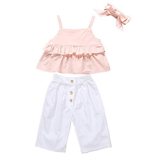 Kinder Mädchen Riemen Rüsche Tops T-Shirt + Hosen + Stirnband Set