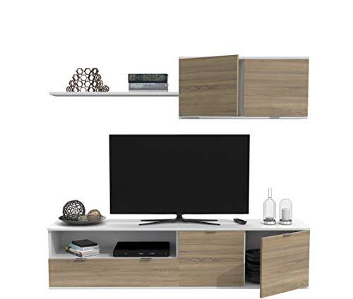 Dormidán- SL4, Mueble de Comedor, Conjunto de Salon, módulo bajo, modulo Colgante (Blanco/Roble, 1.6 Metros)