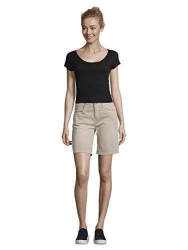 TOM TAILOR Damen Jeanshosen Alexa Slim Bermuda Shorts Dusty Taupe,29