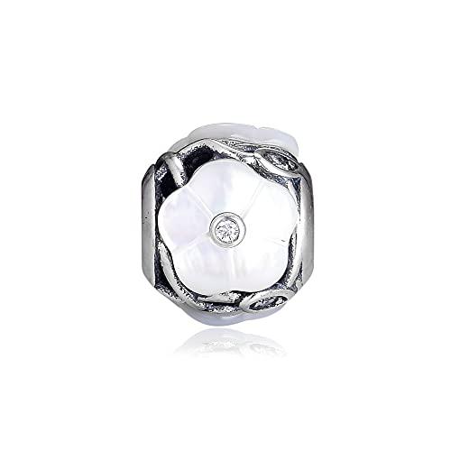 LIIHVYI Pandora Charms para Mujeres Cuentas Plata De Ley 925 Florales Luminosos De Perla Transparente Compatible con Pulseras Europeos Collars