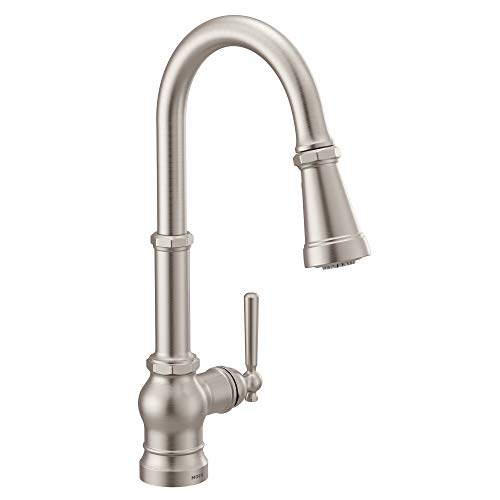 Moen S72003SRS Paterson One-Handle Pull-down Kitchen Faucet with Power Boost, Includes Interchangeable Handle, Spot Resist Stainless