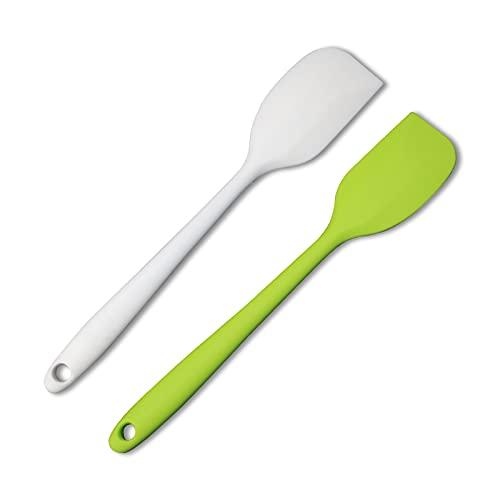 HEIGOO 2Pcs Spatola, Non-Stick Spatola per la Cottura, Uso per Lo Stirring, la Gratifica o la Sprella, Bianco