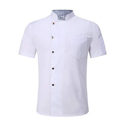 WMOFC Kochjacke,Chef Uniform, Restaurant Hotel Cafe Kurzarm Kostüm Küchen Koch Jacke Oberteile Kochhemd Chef Mantel,Weiß,XXXL