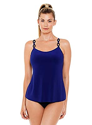 Magicsuit Women's Swimwear Solid Kate Soft Cup Tankini Top with Adjustable Straps, Indigo, 08