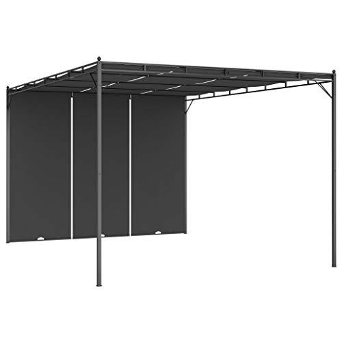 vidaXL Cenador de Jardín con Cortina Lateral Exterior Gazebo Patio Cubre Impermeable Tienda Aire Libre Camping Pabellón Quiosco Gris Antracita