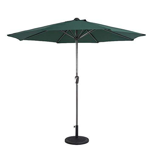 GuoEY Ombrello da Tavolo per Esterno 9 '' Ombrello da Giardino con manovella a Spirale, Ombrello da Mercato Impermeabile con Parasole, Rotondo da 2,7 m (Colore: Verde Scuro)