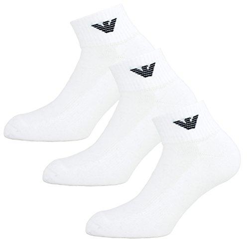 Emporio Armani Socken 3er Pack Knit Socks Sneaker Unisex einfärbig - Farbauswahl: Farbe: Weiß   Größe: 44-45 (Gr. L)