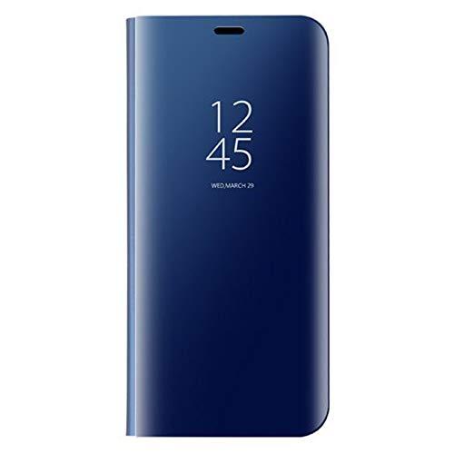 coque Funda para Samsung Galaxy S21 Ultra/Clear View Stand Case Case Case Case Case Case Case Case Case Cover Espejo Smart Flip Cover Cover - Azul cielo