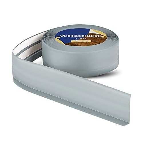 DQ-PP WEICHSOCKELLEISTE | 5m | ashgrau | 50x15mm | PVC | selbstklebend | Knickwinkel Fussleisten Gummileiste Sockelleiste Winkelprofil Abschlussleiste Bodenleiste