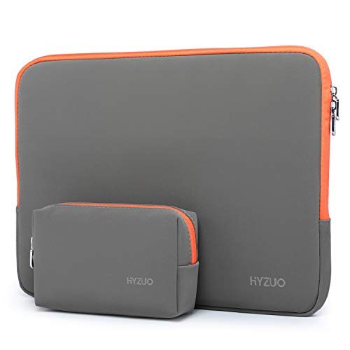 HYZUO 13-13.5 Inch Laptop Sleeve Case Compatible with MacBook Air 13/ MacBook Pro 13/ iPad Pro 12.9/13.5 Inch Surface Laptop/Surface Book/Dell Inspiron 13/ HP ENVY 13/ Asus Zenbook 13, Grey-Orange