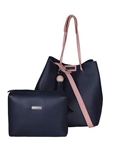 Esbeda Women's PU Synthetic Vinyl Handbag with Pouch (Blue)