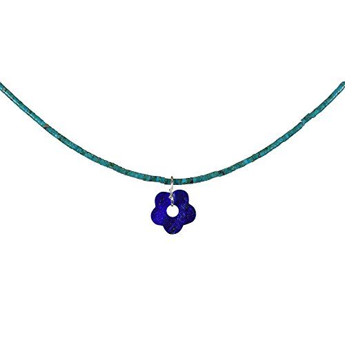 Funk-Collier Edelsteinkette Türkis/Anhänger Lapis Lazuli Blümchen, 925oo Silber, ca. 42.5 cm