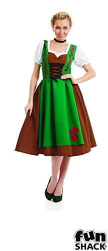 The Good Life Damen Erwachsene Spaß Shack Bayerisches Mädchen Kleid Kostüm Kleidung Größe 44-46