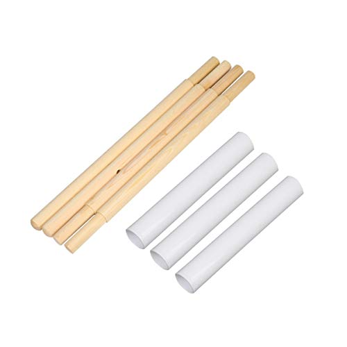 DalosDream Wooden Poles and Plastic Connector Tube for Teepee Tent Replacement ( 4pcs Wooden Poles + 3 Plastic Connectors)