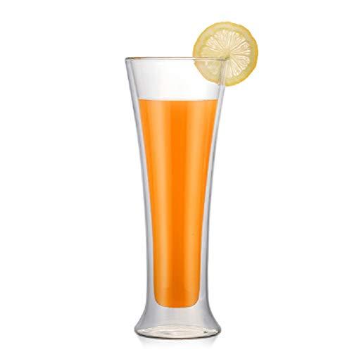 WUHUAROU Doppelwandiger Glasbecher Kaffee Kaltes oder heißes Getränk Hochzeitscocktail Champagnergläser (Size : 2pcs)