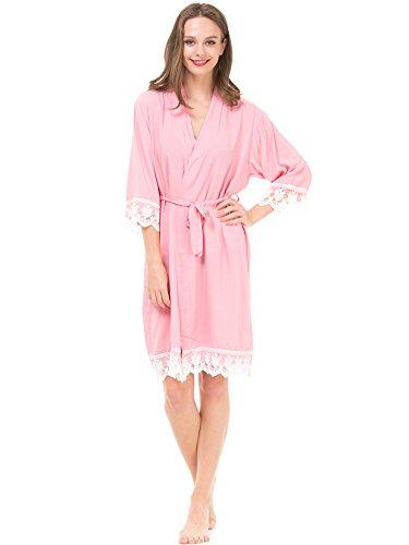 Mr & Mrs Right Women's Cotton Kimono Robe for Bride and Bridesmaid with Lace Trim (Pink, Small / 6-8)