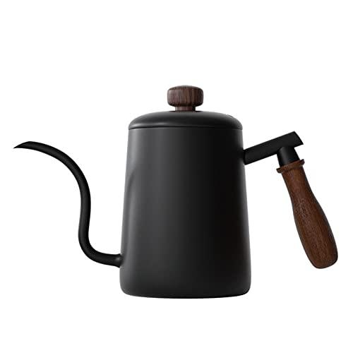 XUEXIU Pote De Café Largo Estrecho Y Estrecho 20z- 304 Cuello De Cisne De Acero Inoxidable Vierta sobre El Hervidor De Café con La Manija De Madera Clásica, Negro (Color : Wooden Handle)