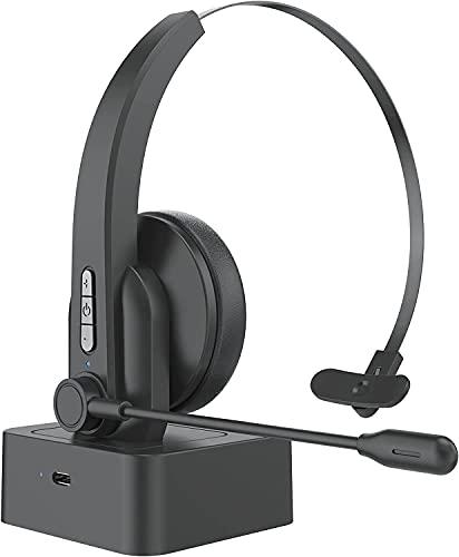 cuffie bluetooth per pc videoconferenza TFR Cuffie Bluetooth Senza Fili con Microfono con Antirumore per PC Computer Cuffiette Wireless On Ear per Call Center Skype Chat Conference Call Videoconferenza Ufficio