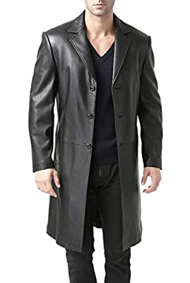 BGSD Men's Classic Leather Long Walking Coat Black X-Large from