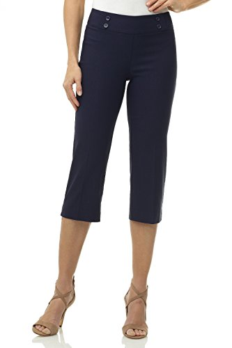 Rekucci Women's Ease into Comfort Capri with Button Detail (6,Navy)