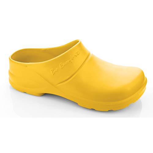 LEMIGO leichte Eva Clogs Gartenclogs Gartenschuhe Bio Comfort Lux (36, gelb mit Einlage)