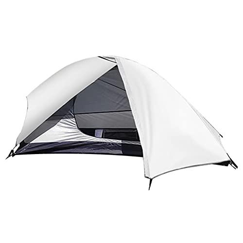 MSGF Tienda de campaña ultraligera de doble capa para una persona, impermeable, mochila de refugio transpirable al aire libre, barra de aluminio para mochilero 0917 (color blanco)