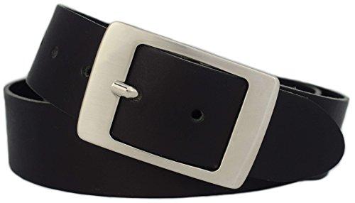 GREEN YARD Ledergürtel Damen schwarz - 100% echtes Leder - 4 cm breit für Jeans - Made in Germany, Schwarz,85 cm Bundweite = 100cm Gesamtlänge