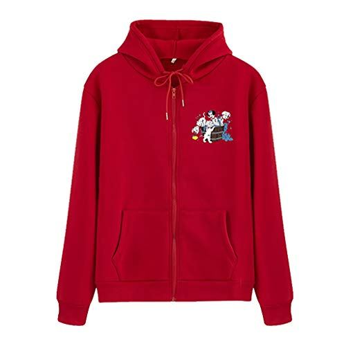 BOLANQ Jacke Damen Sweatjacke Hoodie Sweatshirt Oberteile Damen Pullover Kapuzenpullover Pulli mit Reissverschluss(Small,B-Rot)