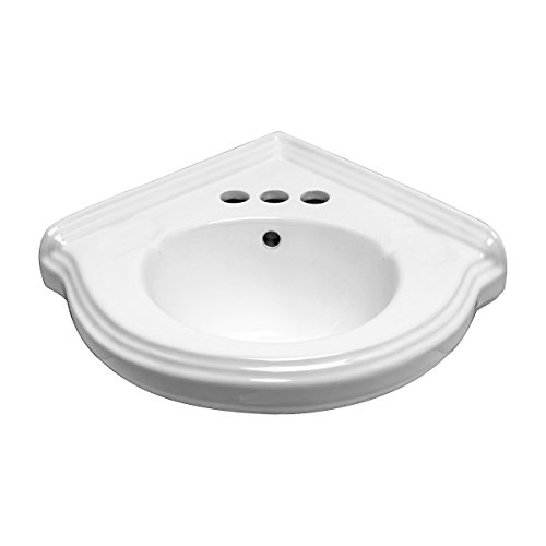 Small Corner Wall Mount Bathroom Sink White Vitreous China with Centerset Faucet Holes and Overflow Renovator's Supply