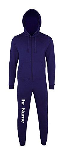 Fashion and Sports Sofasurfer® Kinder Overall Sweatoverall Anzug Hausanzug mit ihrem Namen Bedruckt, Farbe:Navy, Größe:12/13
