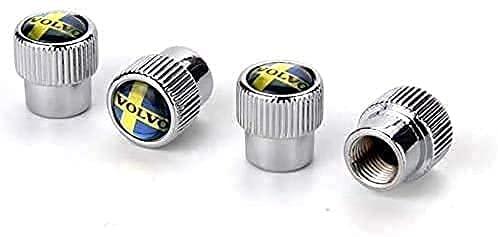 XCZZYC Tapa Antipolvo de válvula de neumáticos de Rueda de Coche para Volvo V40 V50 V60 V70 S40 S60 S60l S70 S80 S90 Xc40 Xc60 Xc70 Xc80 Xc90, Accesorios de decoración Exterior de aleación de Cromo