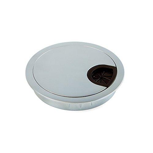 Preisvergleich Produktbild Emuca Kabeldurchführung aus Zamak fur Einbau im Tisch,  Durchmesser 80mm,  Chrom Matt