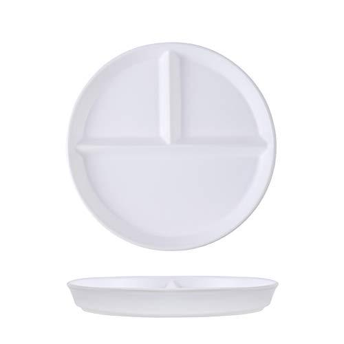 Platos llanos Placa de cena de cena reductora de grasa de placa para una persona para una persona para comer tres rejillas y comidas divididas para uso doméstico Platos para servir de porcelana de coc