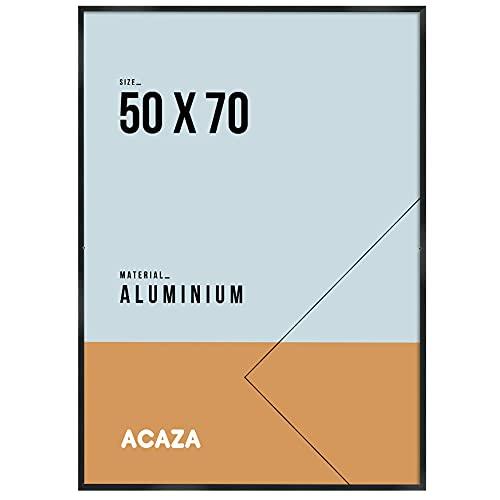Acaza Cadre Photo Solide, Cadre Photo de Taille 50 cm x 70 cm, Aluminium, Plexiglas, Bordure Noire