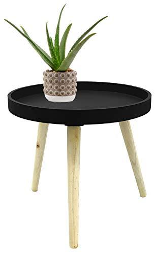Möbelbörse Couchtisch Ø40cm Beistelltisch Sofatisch Holz MDF Deko Tisch Rund Dreibein Retro Look (Schwarz)
