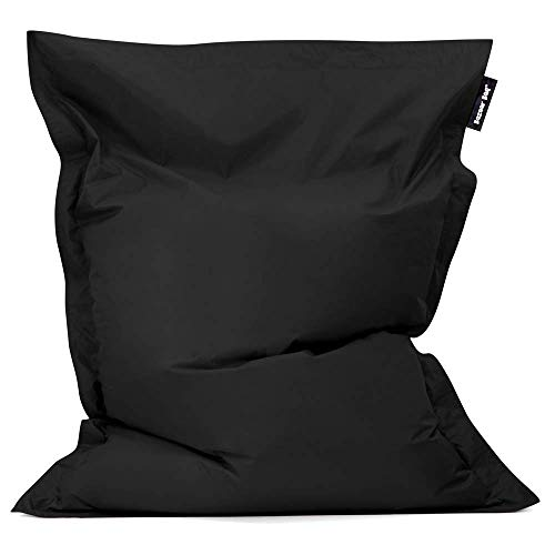 Bazaar Bag - Giant Bean Bag Chair, 180cm x 140cm, Large Indoor Living Room Gamer Bean Bags, Outdoor Water Resistant Garden Floor Cushion Lounger (Black)