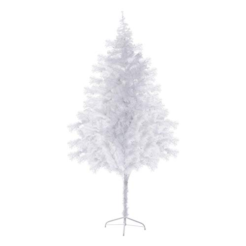 White Christmas Tree 6ft Artificial Holiday Christmas Tree for Home, Office, Party Decoration with Metal Stand 600 Branch Tips Easy Assembly (6ft, White)
