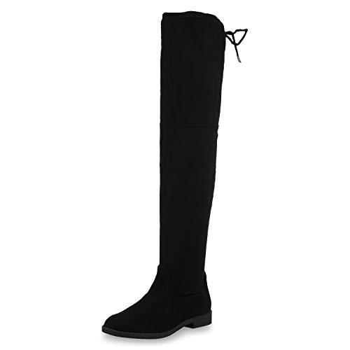 SCARPE VITA Damen Overknees Stiefel Wildleder-Optik Boots Langschaftstiefel 173667 Schwarz Black 38