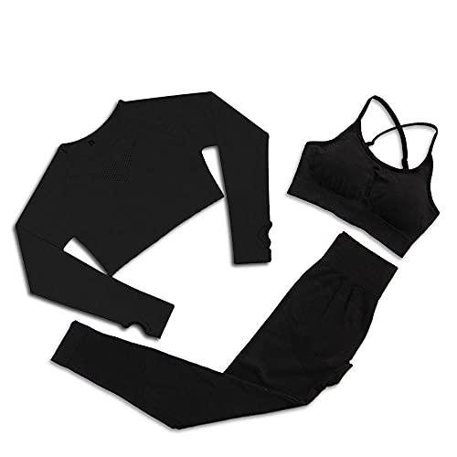 qqff Ropa Deportiva bádminton,Traje Tres Piezas Fitness Yoga Mujer,Traje Andar-Negro,Ropa Entrenamiento Ejercicio Baloncesto