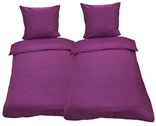 Leonado Vicenti Bettwäsche 135x200 4teilig Renforce 100% Baumwolle Uni mit Reißverschluss (Violett)