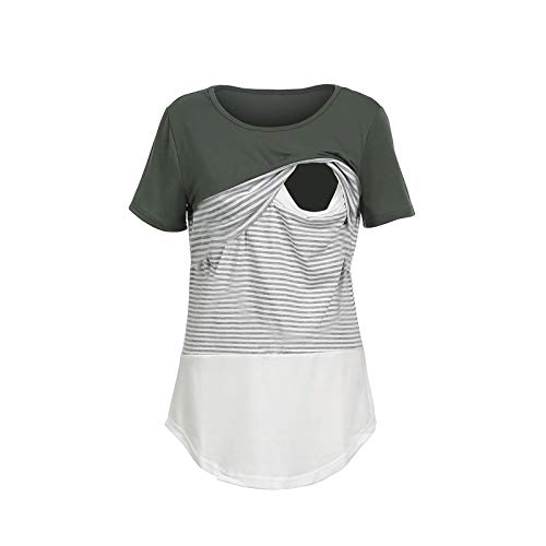 Damen Umstandsmode Sommer Streifen Umstandsshirt Casual Rundkragen Kurzarm Umstandstop Frauen Stillshirts Schwangerschaft Basic T-Shirt Stilltops Umstandskleidung