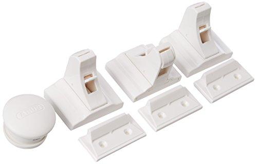 ABUS Magnet-Schloss Marc unsichtbare Tür- und Schubladensicherung für Kinder und Babys - einfache Montage - 3 Stück - weiß - 73144